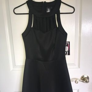 Black Cocktail Dress with Neckline Cut-outs